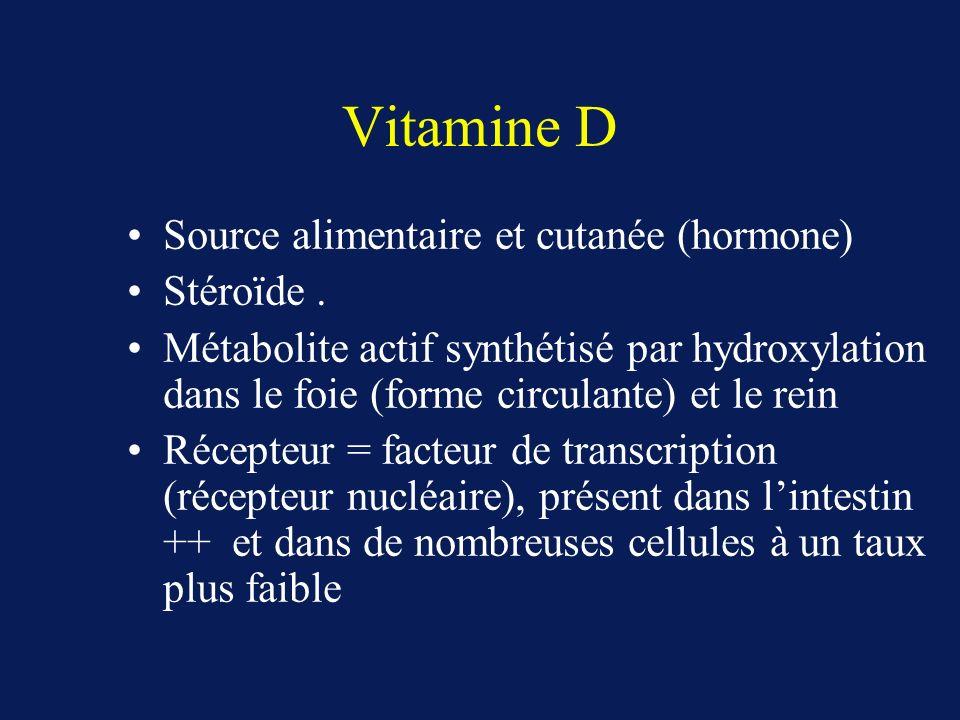 Vitamine D Source alimentaire et cutanée (hormone) Stéroïde .