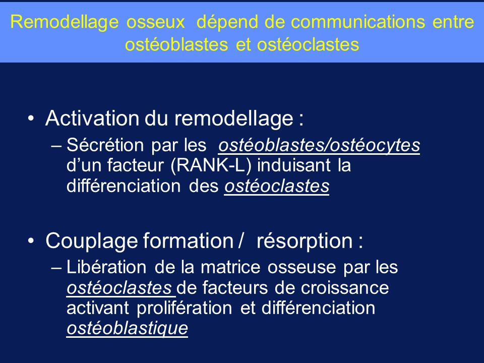 Activation du remodellage :