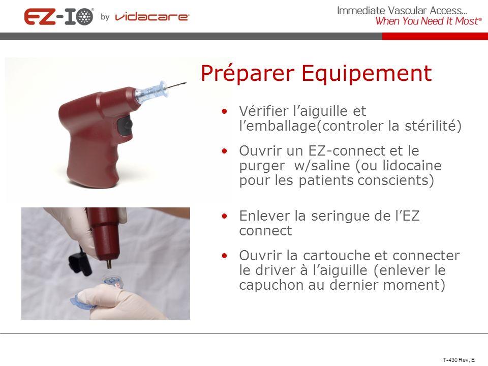 Préparer Equipement Vérifier l'aiguille et l'emballage(controler la stérilité)