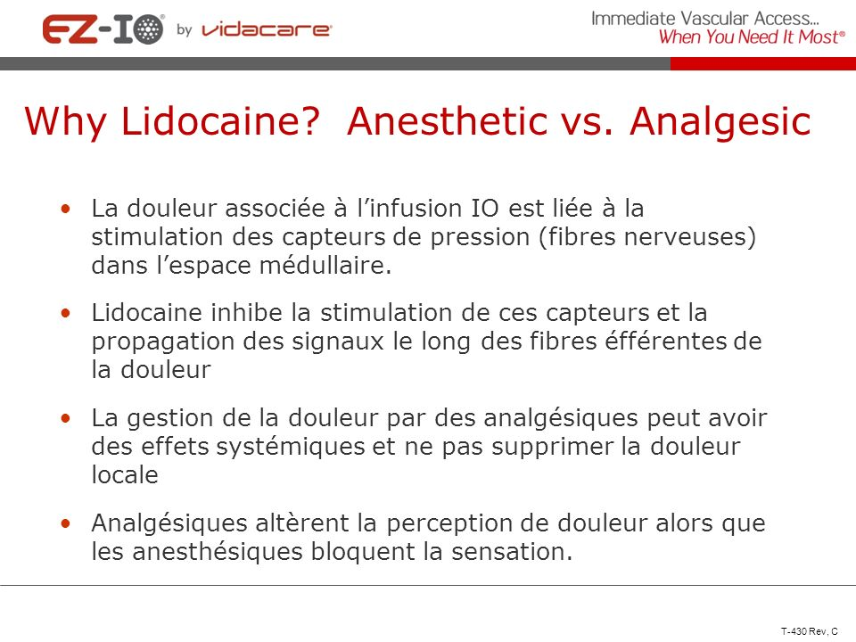 Why Lidocaine Anesthetic vs. Analgesic