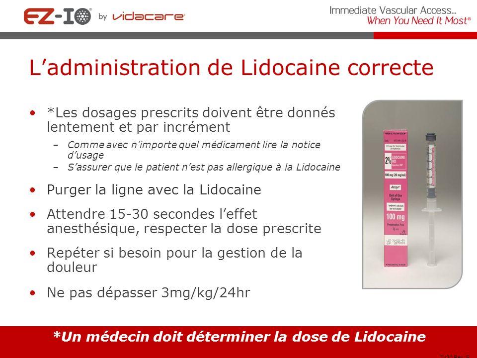 L'administration de Lidocaine correcte
