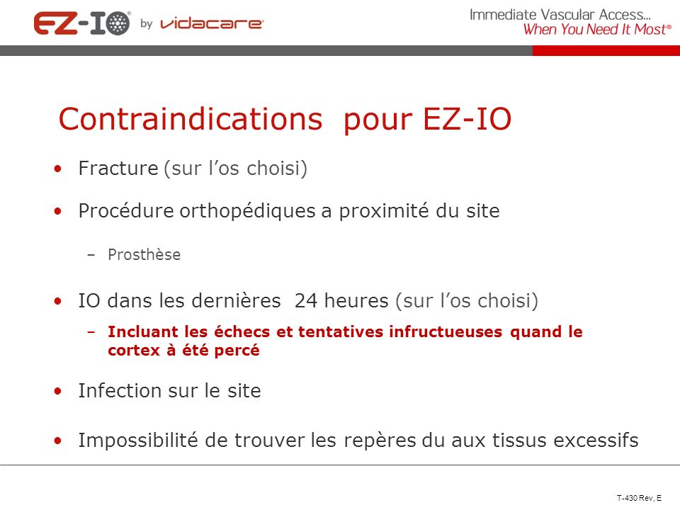 Contraindications pour EZ-IO