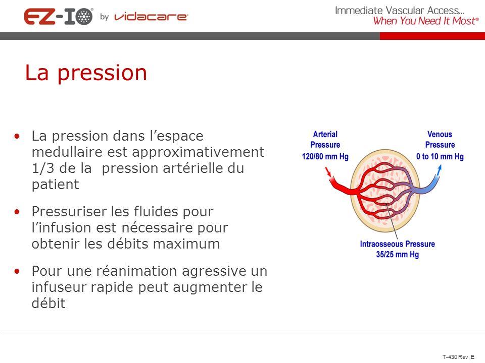 La pression La pression dans l'espace medullaire est approximativement 1/3 de la pression artérielle du patient.