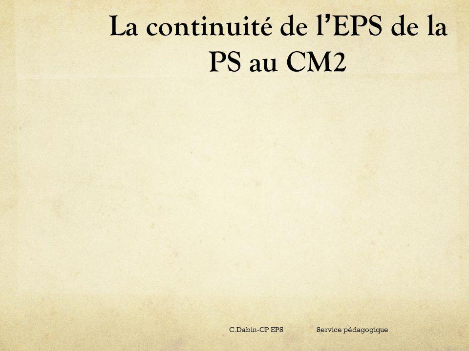 La continuité de l'EPS de la PS au CM2