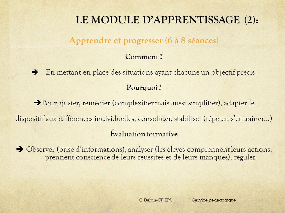 LE MODULE D'APPRENTISSAGE (2):
