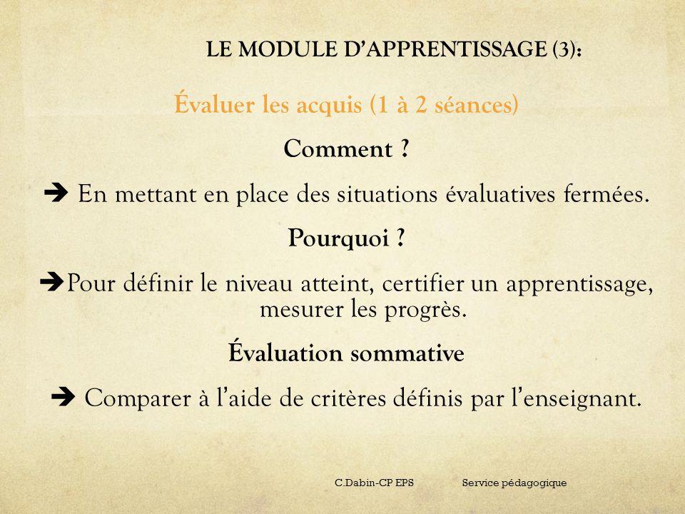LE MODULE D'APPRENTISSAGE (3):
