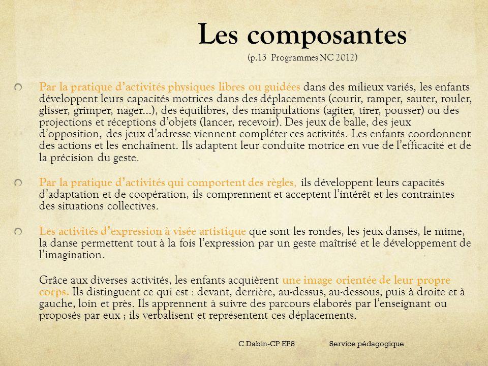 Les composantes (p.13 Programmes NC 2012)