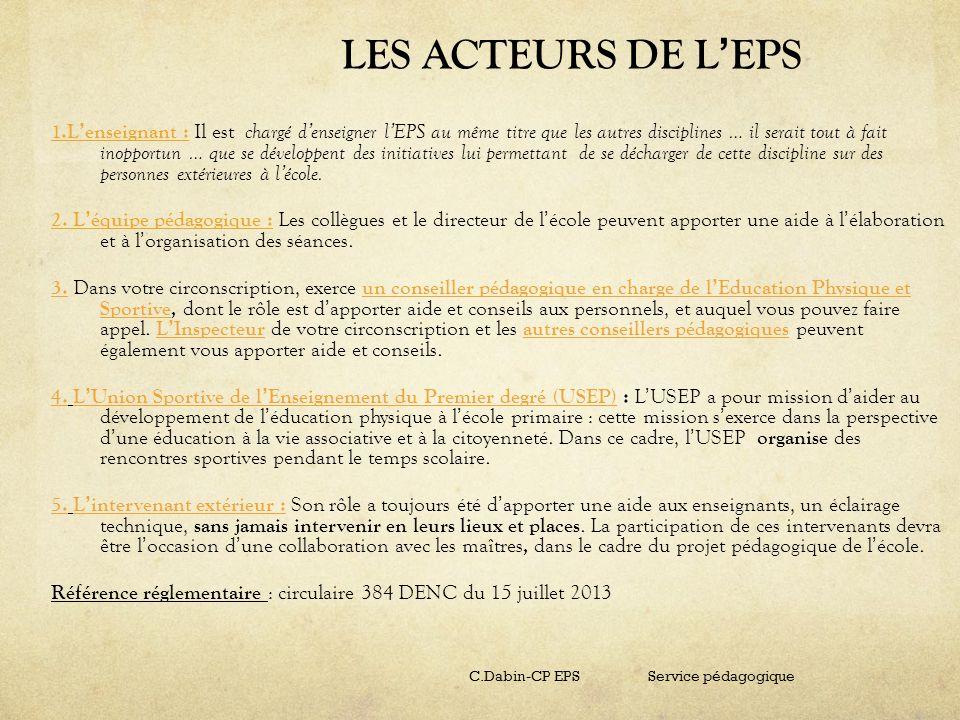 LES ACTEURS DE L'EPS