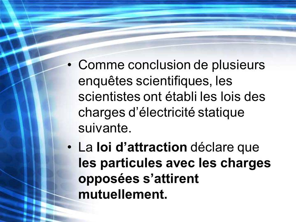 Comme conclusion de plusieurs enquêtes scientifiques, les scientistes ont établi les lois des charges d'électricité statique suivante.