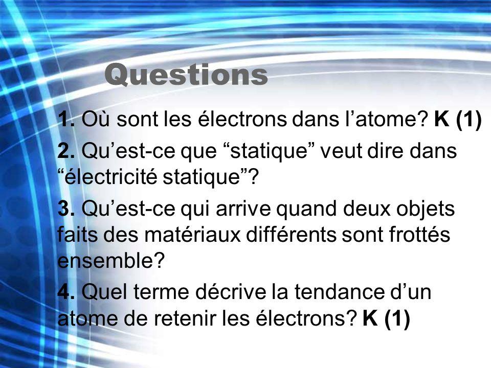 Questions 1. Où sont les électrons dans l'atome K (1)