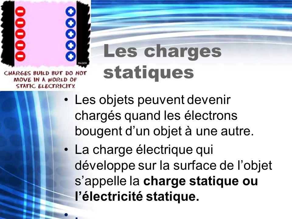 Les charges statiques Les objets peuvent devenir chargés quand les électrons bougent d'un objet à une autre.