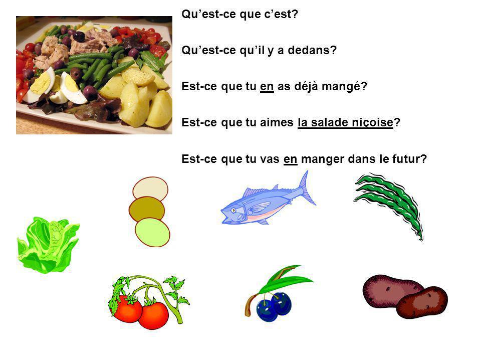 Qu'est-ce que c'est Qu'est-ce qu'il y a dedans Est-ce que tu en as déjà mangé Est-ce que tu aimes la salade niçoise