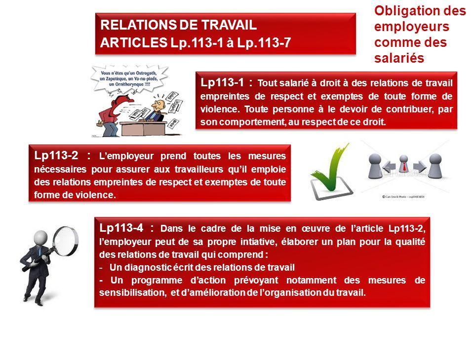 Obligation des employeurs comme des salariés RELATIONS DE TRAVAIL