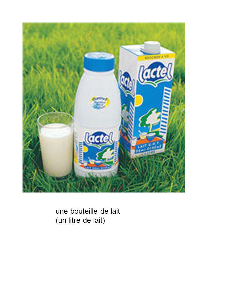 une bouteille de lait (un litre de lait)