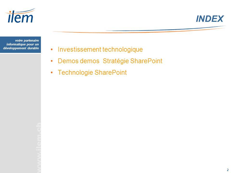 INDEX Investissement technologique Demos demos Stratégie SharePoint
