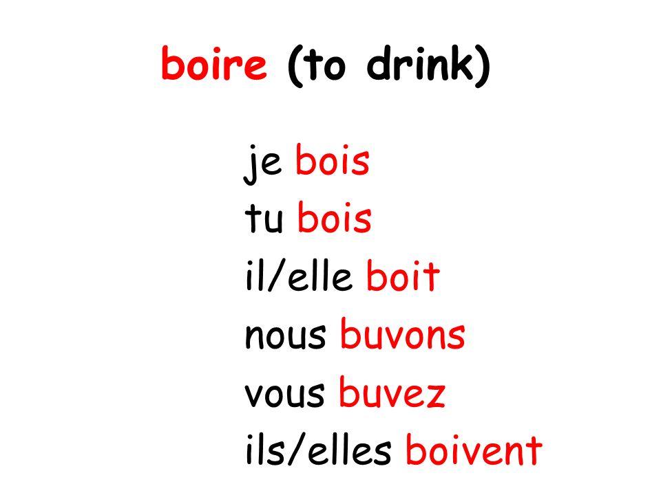 je bois tu bois il/elle boit nous buvons vous buvez ils/elles boivent