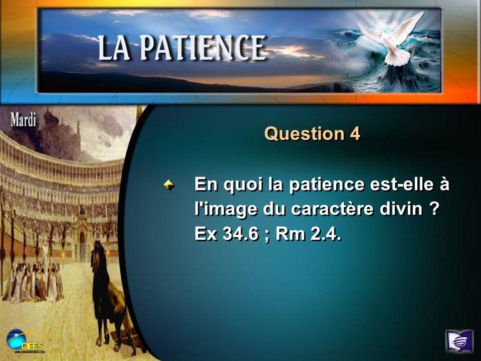 Question 4 En quoi la patience est-elle à l image du caractère divin Ex 34.6 ; Rm 2.4.