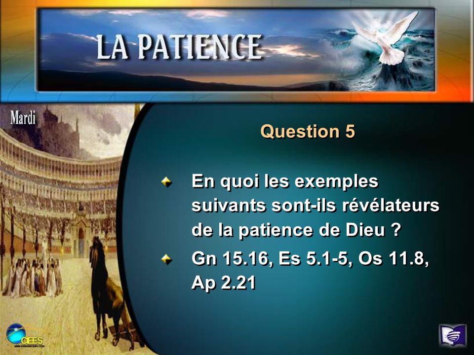 Question 5 En quoi les exemples suivants sont-ils révélateurs de la patience de Dieu .