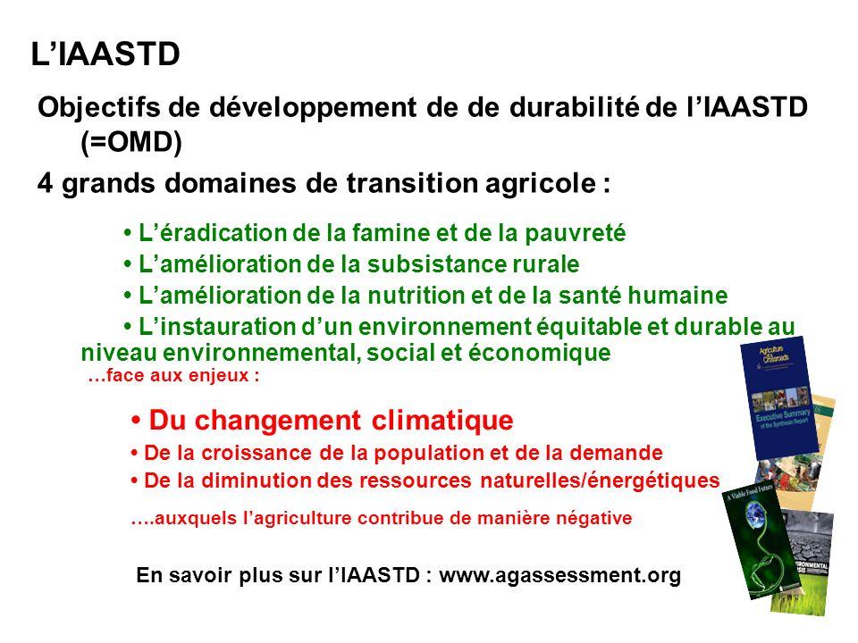 L'IAASTD Objectifs de développement de de durabilité de l'IAASTD (=OMD) 4 grands domaines de transition agricole :