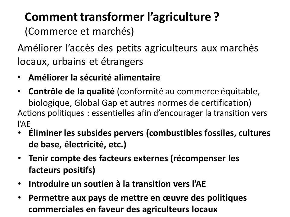 Comment transformer l'agriculture (Commerce et marchés)