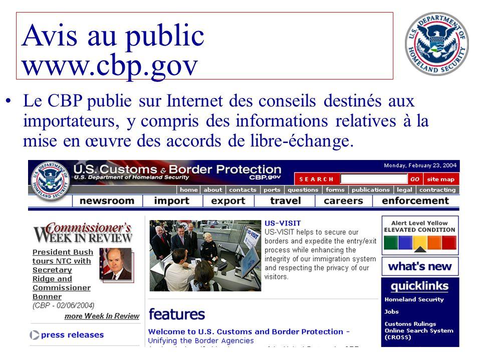 Avis au public www.cbp.gov