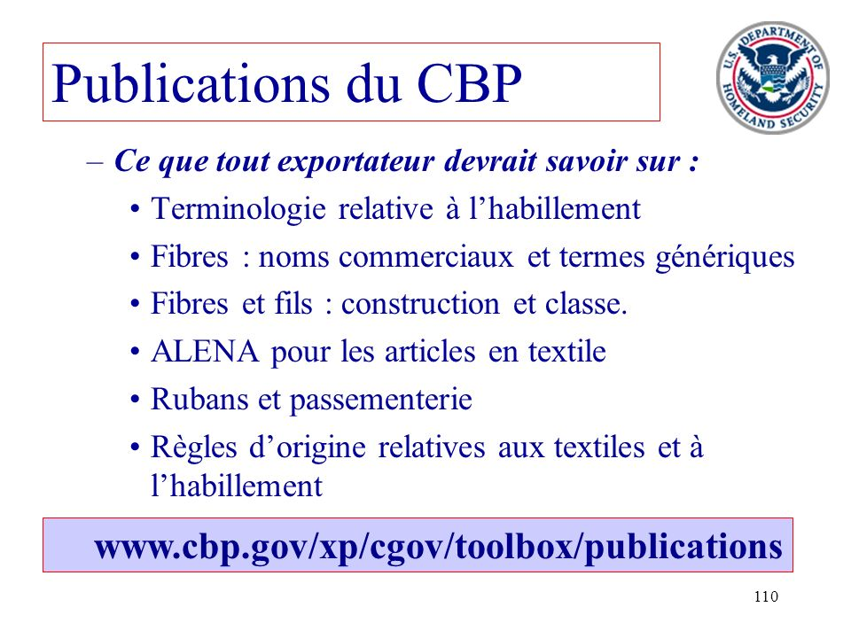 Publications du CBP www.cbp.gov/xp/cgov/toolbox/publications