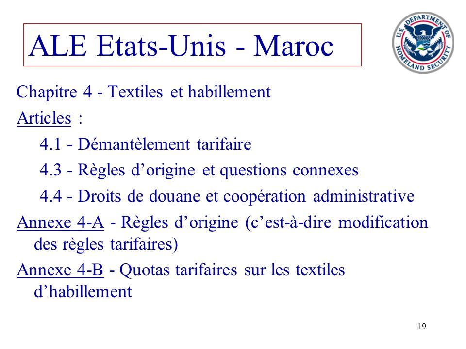ALE Etats-Unis - Maroc Chapitre 4 - Textiles et habillement Articles :