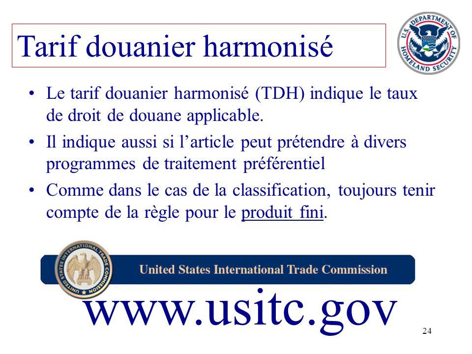 www.usitc.gov Tarif douanier harmonisé