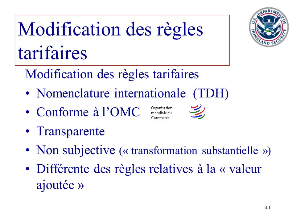 Modification des règles tarifaires