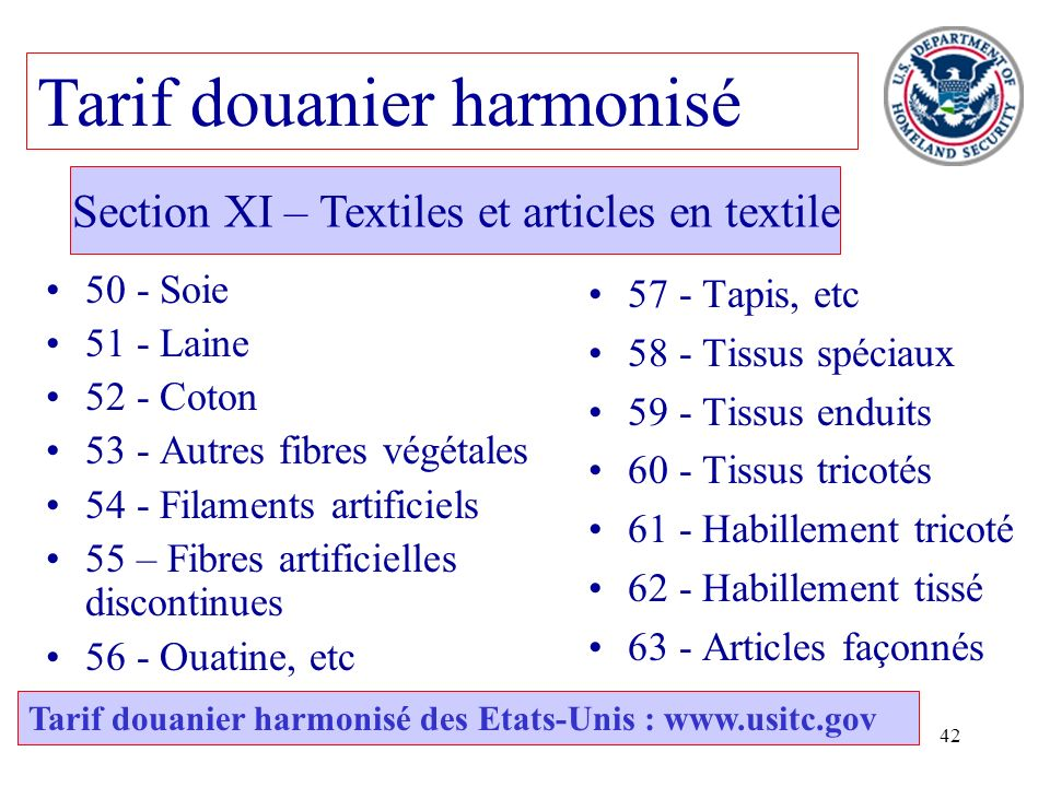 Section XI – Textiles et articles en textile