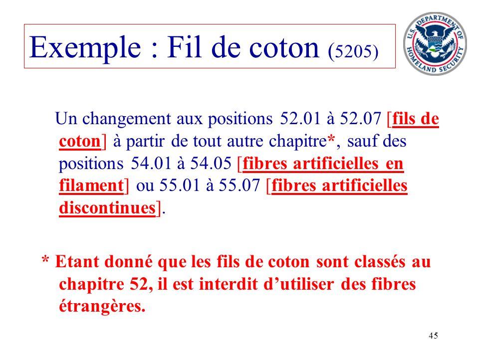 Exemple : Fil de coton (5205)