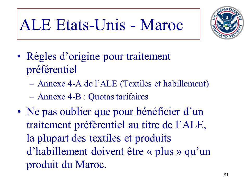ALE Etats-Unis - Maroc Règles d'origine pour traitement préférentiel