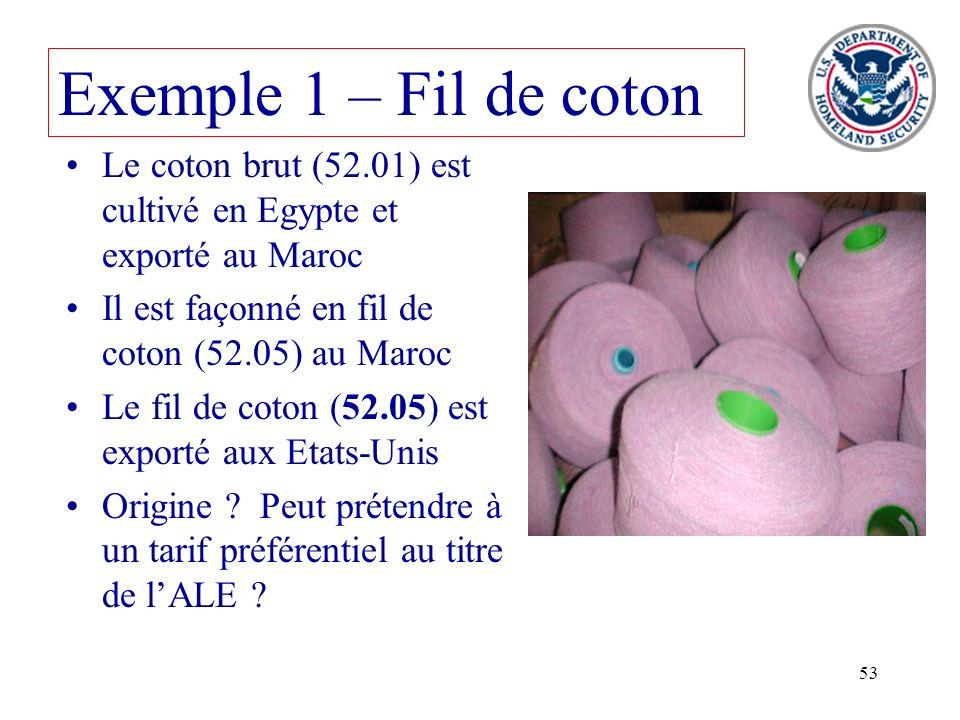 Exemple 1 – Fil de coton Le coton brut (52.01) est cultivé en Egypte et exporté au Maroc. Il est façonné en fil de coton (52.05) au Maroc.