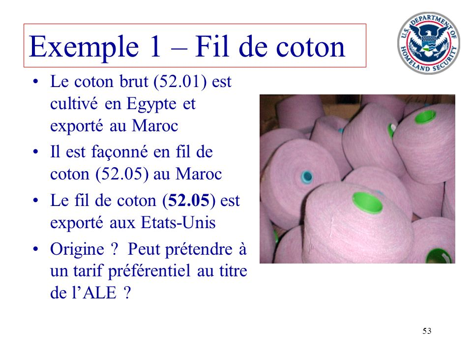 Exemple 1 – Fil de cotonLe coton brut (52.01) est cultivé en Egypte et exporté au Maroc. Il est façonné en fil de coton (52.05) au Maroc.