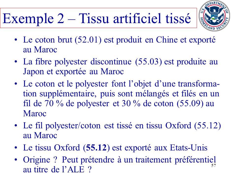 Exemple 2 – Tissu artificiel tissé