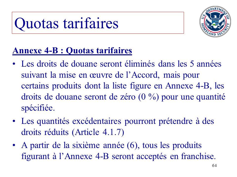 Quotas tarifaires Annexe 4-B : Quotas tarifaires