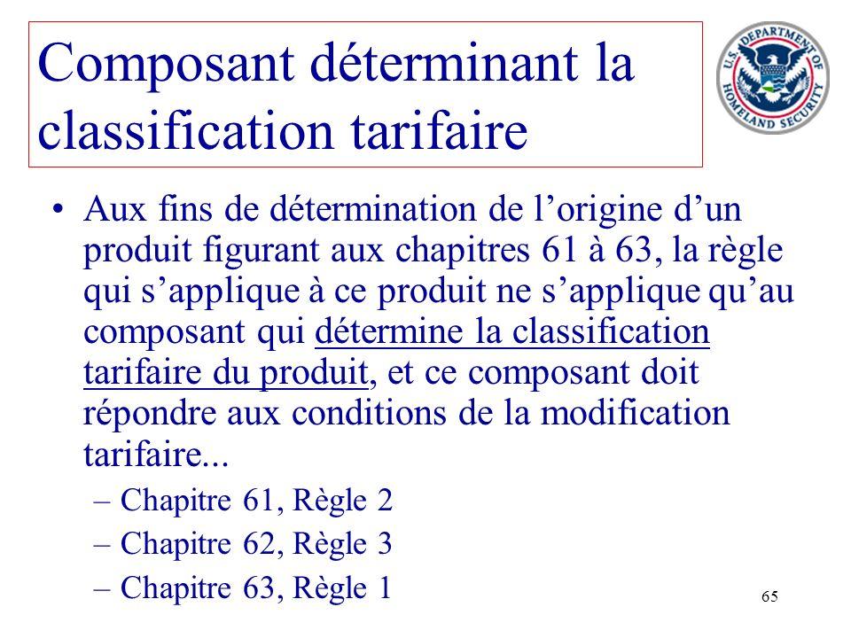 Composant déterminant la classification tarifaire