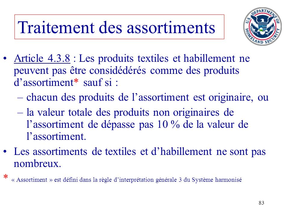 Traitement des assortiments