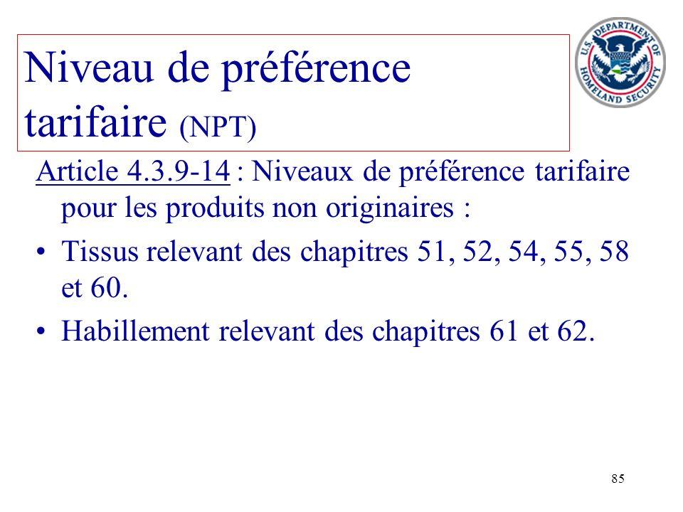 Niveau de préférence tarifaire (NPT)
