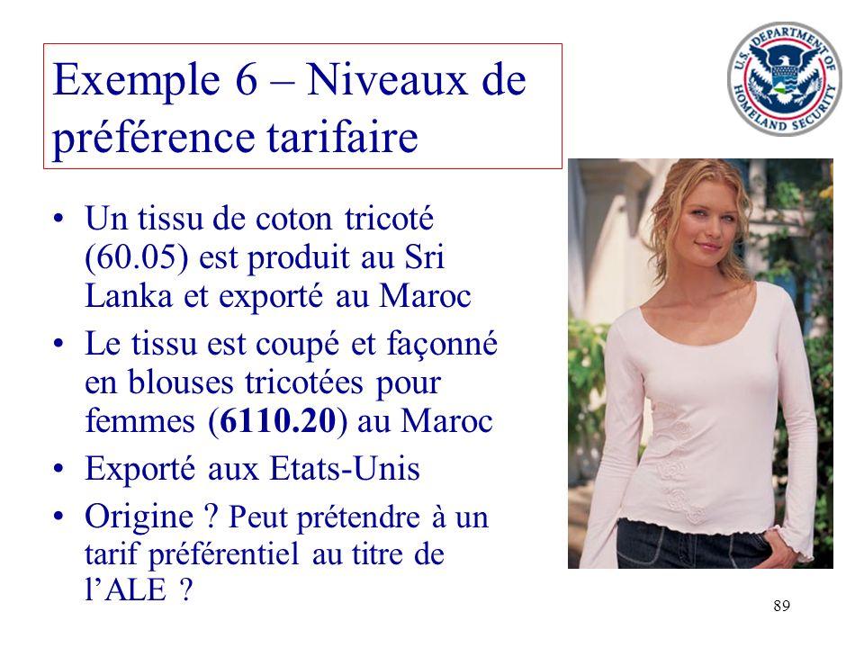 Exemple 6 – Niveaux de préférence tarifaire