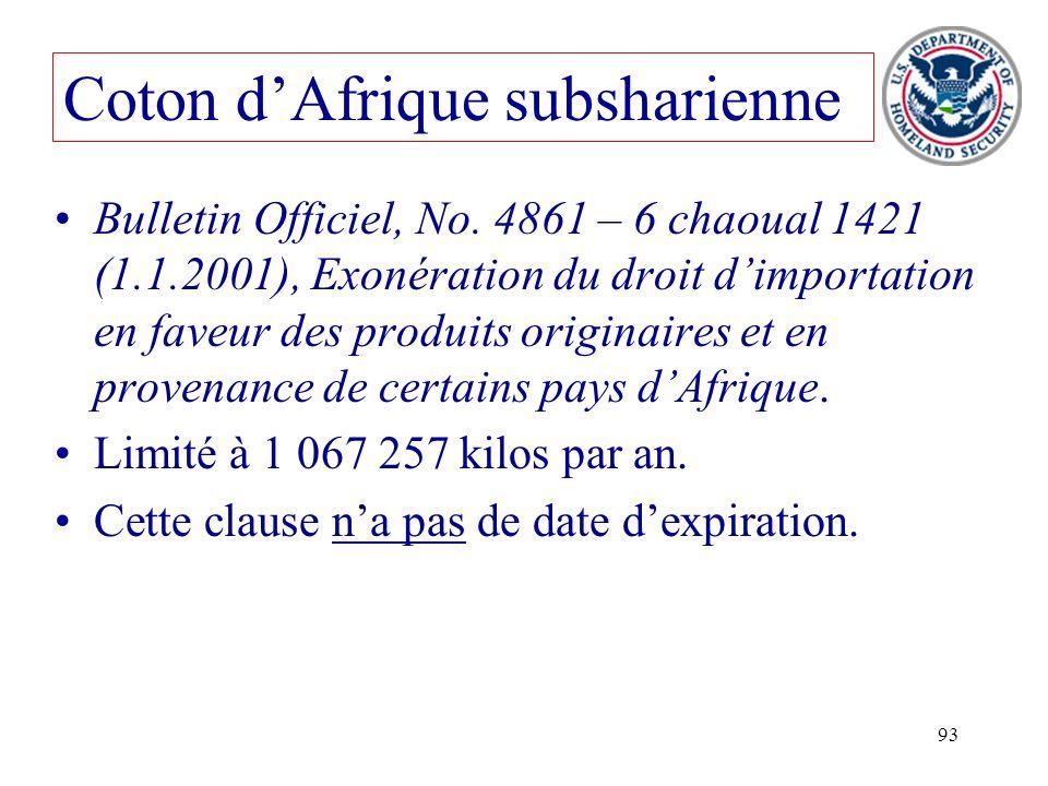 Coton d'Afrique subsharienne