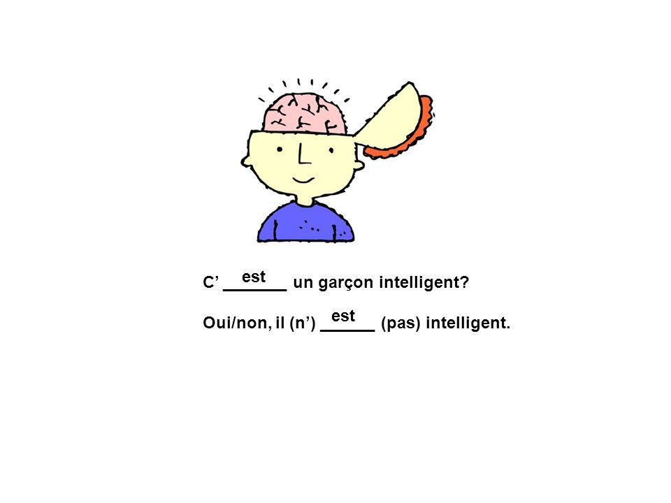 est C' _______ un garçon intelligent Oui/non, il (n') ______ (pas) intelligent. est