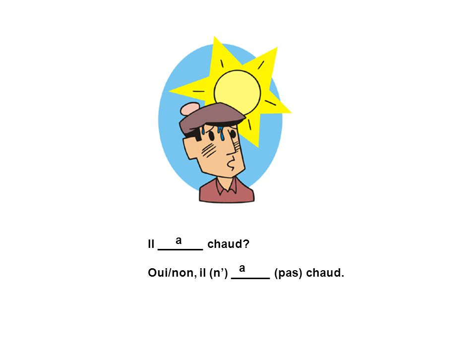 a Il _______ chaud Oui/non, il (n') ______ (pas) chaud. a