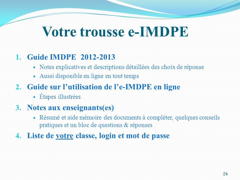 Votre trousse e-IMDPE Guide IMDPE 2012-2013