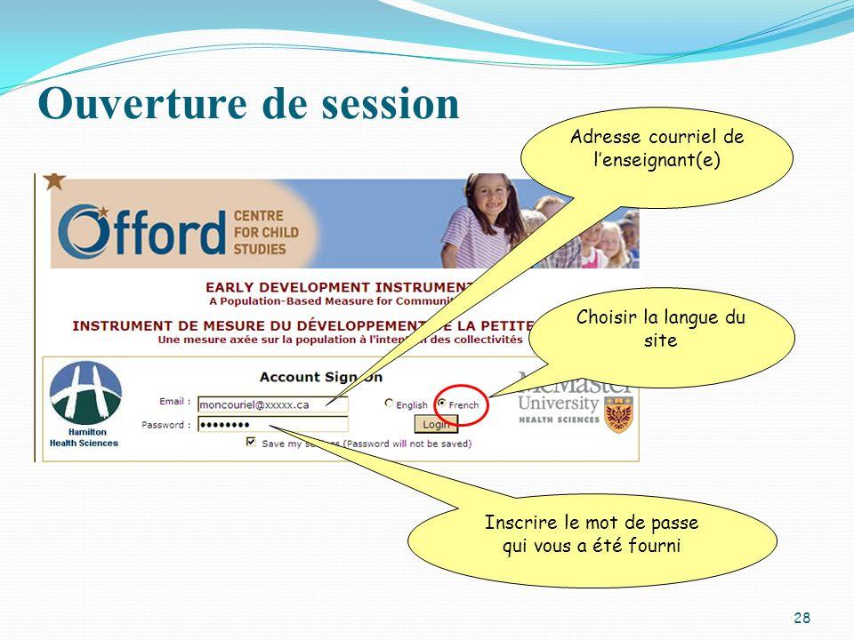 Ouverture de session Adresse courriel de l'enseignant(e)