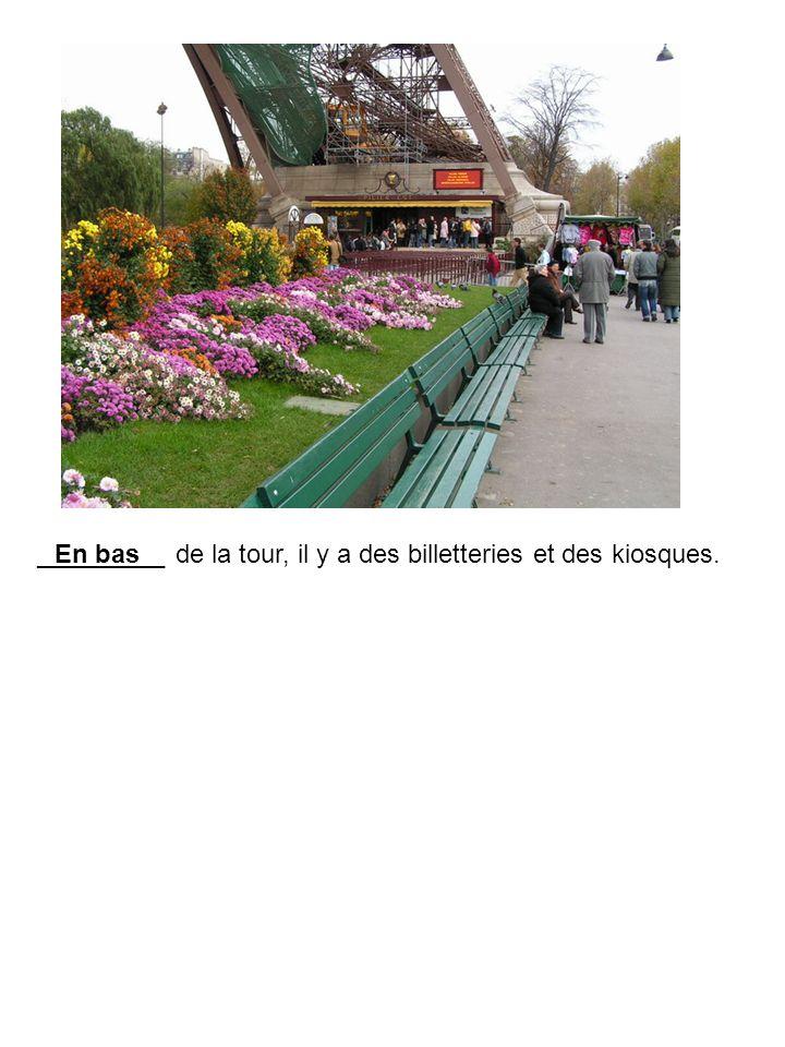 _________ de la tour, il y a des billetteries et des kiosques.