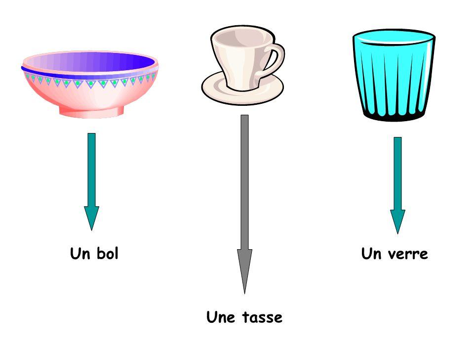 Un bol Un verre Une tasse