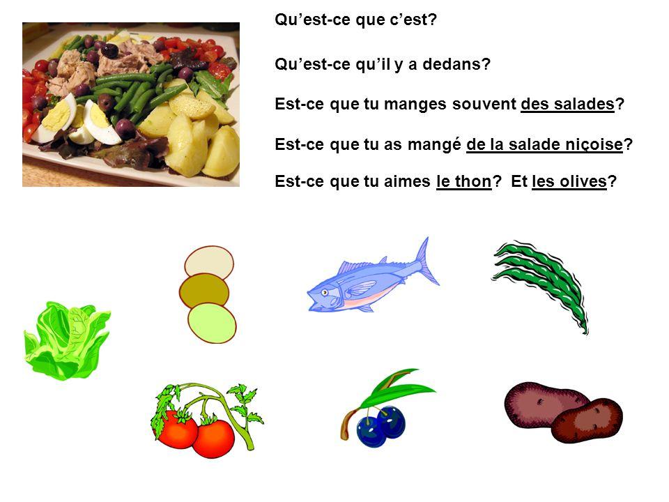 Qu'est-ce que c'est Qu'est-ce qu'il y a dedans Est-ce que tu manges souvent des salades Est-ce que tu as mangé de la salade niçoise