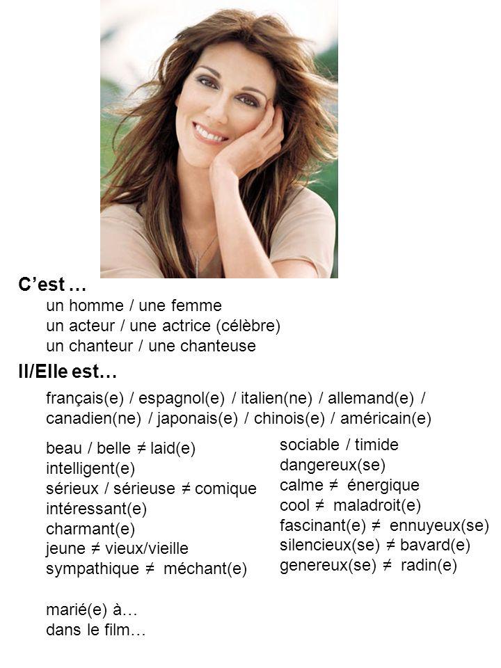 C'est … un homme / une femme un acteur / une actrice (célèbre) un chanteur / une chanteuse. Il/Elle est…