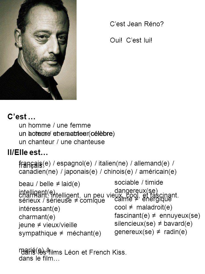 C'est … Il/Elle est… C'est Jean Réno Oui! C'est lui!